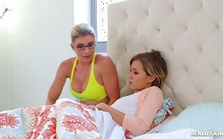 Horny babes Cory Chase and Haley Reed share one large cum gun