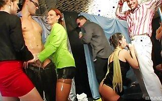 Kinky bonking between handsome dudes and oiled pizazz sluts