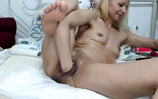 Titillating blonde French mature granny anal fisted hard