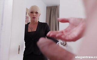 Christina catches her business partner jerking off and decides to help him