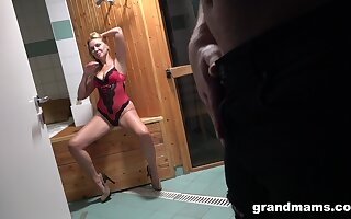 Hot mature lady seduces a young man in the sauna and be suitable fucks him inane