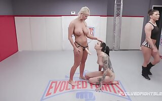 Beautiful gigantic models fuck after a nude wrestling match - KINK