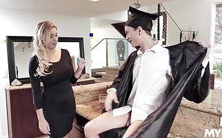 MILF stepmom fucks a college graduate together with that woman is so damn fine