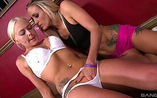 Angel Throb and Delilah Dash strip each other adjacent to have lesbo sex
