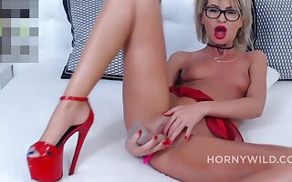 Closely-knit Tits Blonde In Glasses Masturbates Will not hear of Yummy Pink Coochie