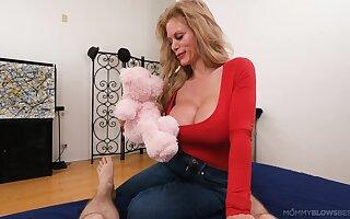 POV motion picture of mature slut Casca Akashova eating cum after sucking dick