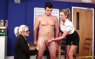Blonde hotties are keen to garden plot and fuck this fine gumshoe