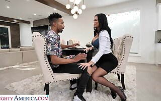 Hot white mommy Jasmine Jae seduces black lad increased by enjoys his hulking phallus