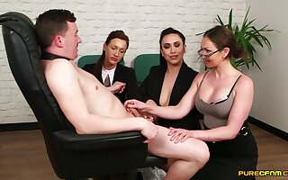 MILFs in hot designation outfits, insane CFNM on a single dick