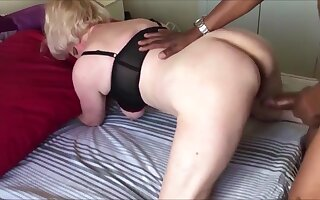 Big tits grandma fucked doggystyle while hubby recording